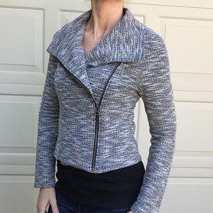 LANSTON tweed look knit moto jacket S (E5)